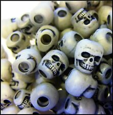 100 Skull Glow in the Dark Beads 9 mm x 13 mm The Beadery ABCraft Made in USA