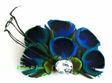 Peacock Feather Hair Clip Pin Accessories Fascinator Handmade in UK 'Briana'