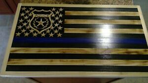 Thin Blue Line police 15 x 26  American Wooden Flag,Rustic Flag.