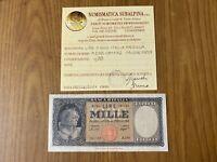 REPUBBLICA ITALIANA BANCONOTA Lire 1000 ITALIA MEDUSA 1959 certificata qBB