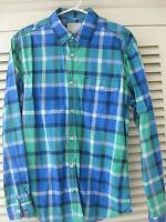 Herrenhemd Esprit blau grün kariert M Langarm