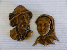 "Vintage 7.25"" wood look plastic WALL HANGING figurine MAN & LADY ornament plaque"