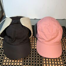 Lot of 2 Land's End Winter Ear flaps Baseball Cap Style Hat Lined Aviator