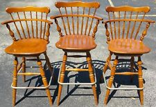New listing 3 Vintage Ethan Allen Heirloom 10 6095 Nutmeg Maple Swivel Bar Counter Stools