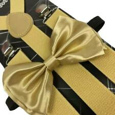 Gold Color Suspender + Clip on Bow-Tie Matching Set for Adults Men Women (USA)