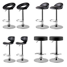 Pair of 2 Bar Stools Faux Leather Swivel Gas Lift Chair Kitchen Breakfast Stool
