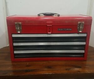 SEARS CRAFTSMAN PROFESSIONAL VINTAGE 3 DRAWER TALL RED TOOL BOX CHEST