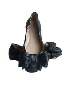 Tory Burch Divine Box Black Leather Driver Ballet Flats Size 5.5M