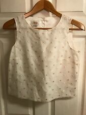 Beuatiful TALBOTS Size 8 100% Silk Sleeveless Blouse Ivory Lace Floral LINED