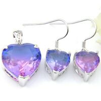 Anniversary Gift 2PCS Purple Bi-Colored Tourmaline Gems Silver Pendant Earrings