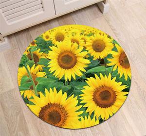 Non-slip Door Round Mat Yellow Sunflowers Rugs room Floor Yoga Carpet Bath Mat