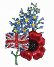 Forget Me Not UK Flag Symbolic Red Poppy Diamante Crystal Brooch Pin