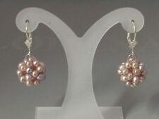 585 Gold Weisgold Weißgold Ohrhänger Brisuren Ohrringe Perlen Perlenball rose