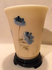 FENTON CAMEO FLIP VASE #F4810 HAND PAINTED AND SIGNED BY L. BARBOUR IN 2007