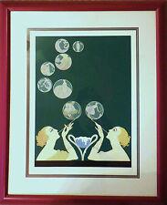"Erte ""Bubbles"" Framed Limited Edition Serigraph Artist Proof Signed COA"