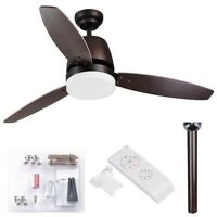 """52"""" 3 Blades Ceiling Fan with LED Light and Remote Control Indoor Room"""