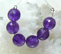 6 GEM GRADE NATURAL PURPLE FACETED AFRICAN AMETHYST 8mm ROUND BEADs STRAND