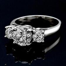 Three Stone 1.00 Carat Round Cut Natural Diamond Engagement Ring White Gold
