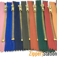 3 for 2 Brass Trouser Jeans Zip Zipper - Closed End Zips -17 Colours
