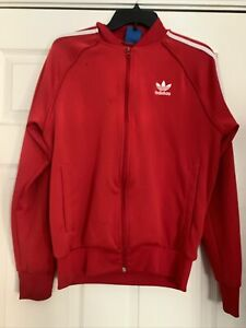 Adidas Track Jacket Full Zip Red And White Medium Polyester Small Black Dot