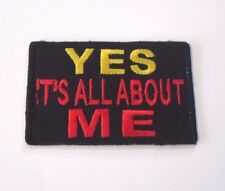 Sew On EMBROIDERED Patch ALL ABOUT ME Logo SLOGAN Funny GIFT Joke 7.5cm HUMOUR