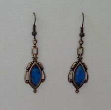 VICTORIAN STYLE PEACOCK BLUE FACETED GLASS DARK GOLD PLATED EARRINGS HOOK