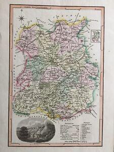1818 Original Scarce Map:  Langley's New Map of Shropshire
