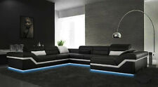Wohnlanschaft Designer Leder Sofa Couch Garnitur Ecksofa U-Form Neu New York II
