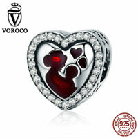 VOROCO 925 Silver Heart Charms With Red Enamel And CZ Theme Great Mother'S Love