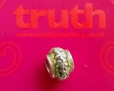 Genuine TRUTH silver PK 925 mottled green enamel floral bracelet charm bead