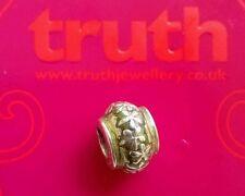 Genuine TRUTH silver PK 925 mottled green enamel floral bracelet charm bead