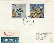 T4647 Burundi reg air 1968 cover UK; 2 Space stamps, 43f rate