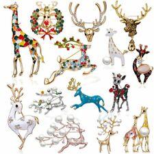 Christmas Pearl Crystal Elk Sika Deer Animals Brooch Pins Enamel Xmas Party Gift