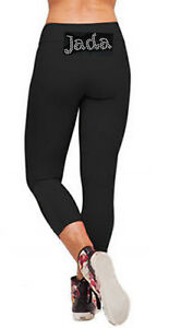 Personalised Black Lycra Leggings Three Quarter Gymnastics Name in Rhinestones