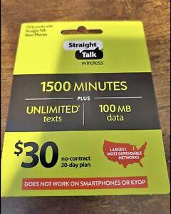 STRAIGHT TALK - $30 / 1500 MIN REFILL - FAST DIRECT REFILL