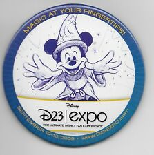 DISNEY D23 SORCERER MICKEY MAGIC at YOUR FINGERS ROUND BUTTON PIN NEW in PLASTIC