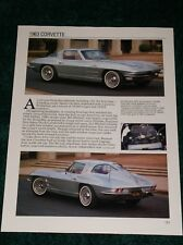 ★★1963 CHEVY CORVETTE SPEC SHEET INFO PHOTO 63 327 COUPE STING RAY CONVERTIBLE★★