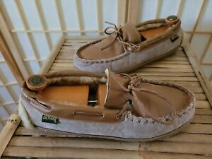 Old Friend Men's 2 Tone Brown Suede & Leather Shearling Moccasin Slippers Sz 11