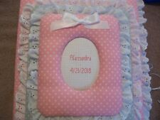 BABY GIRL Pink & Gray Polka Dot Personalized Handmade Fabric Album - Eyelet