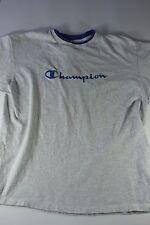 Vintage Champion Embroidered Script Logo Shirt Size XL grey blue sewn vtg