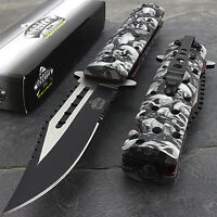 "8.75"" MASTER USA GREY SKULLS SPRING ASSISTED TACTICAL FOLDING POCKET KNIFE Open"