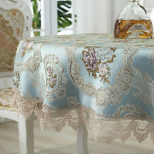 European Lace Tablecloths Round Vintage Cutwork Jacquard Floral Home Table Cover