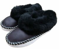 Womens SHEEPSKIN Full Slippers Hand Made Hard Sole Wool Moccasins 3 4 5 6 7 8