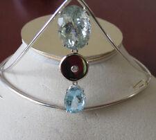 14k white gold & Silver Tiara Estate Designer Custom 22.5 ct Aquamarine diamond