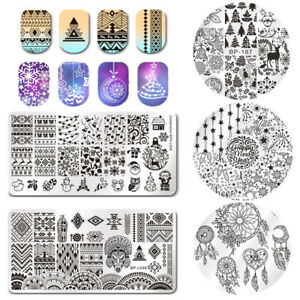 Dreamcathcer Winter Snow Star Nail Art Stamping Templates Image Rectangle Round