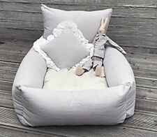 New Happy Sunday Dog Bed Grey Linen By Louisdog With Matching Pillow Louis Dog