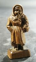 Vintage German Black Forest Brienz Wood Carving Miniature Old Woman With Chicken