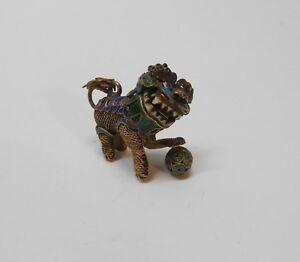 Chinese Foo Dog Foo Lion Gold Gilded Silver Filigree Multi Color Enamel Antique