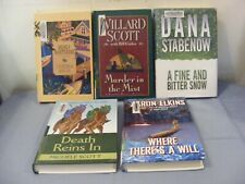 Lot of 5 COZY MYSTERIES - LARGE PRINT - Different Authors -Ex-Lib HBs FREE SHIP