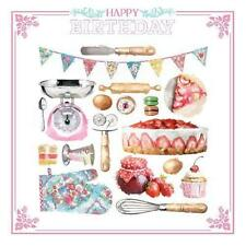 Cake Baking Scales Bunting Whisk Jam Egg Mits Design Female Happy Birthday Card